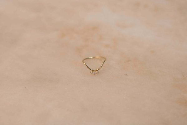 Small Curve & Triple Moissanite Ring - 14k Gold 1.2