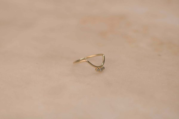 Small Curve & Triple Moissanite Ring - 14k Gold 3