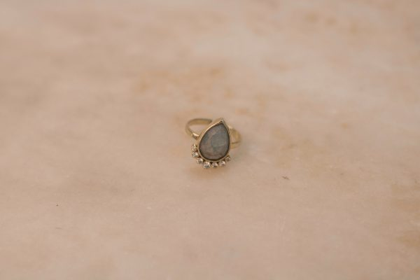 Teardrop Aquamarine Ring with Moissanite - 14k Gold 1.4
