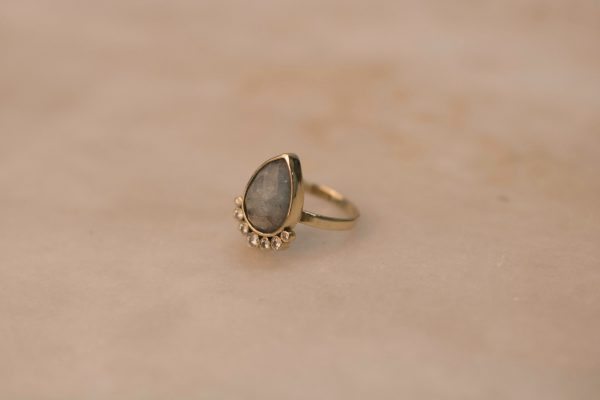 Teardrop Aquamarine Ring with Moissanite - 14k Gold 2