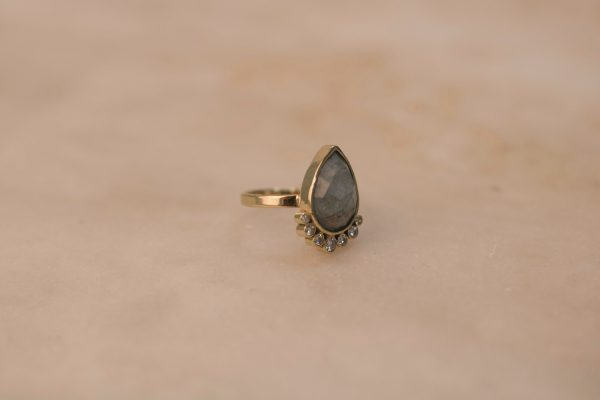 Teardrop Aquamarine Ring with Moissanite - 14k Gold 3