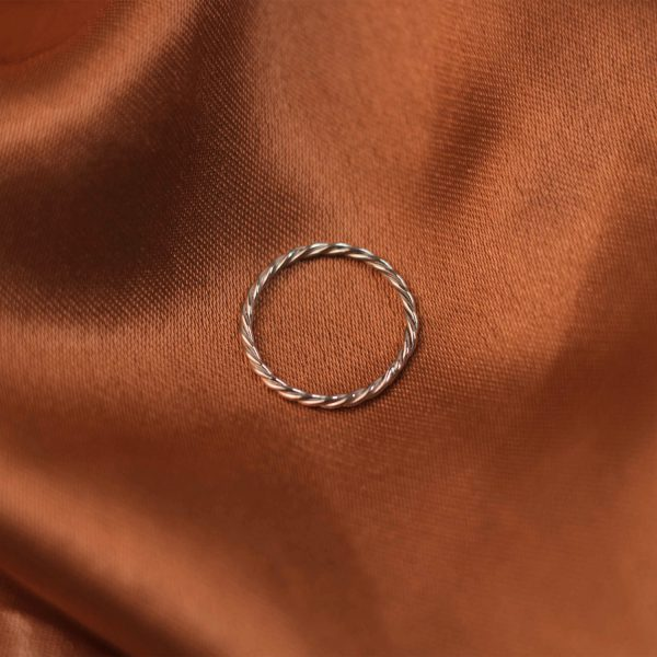 Fine Twist Ring on Rust Colored Silk - Silver