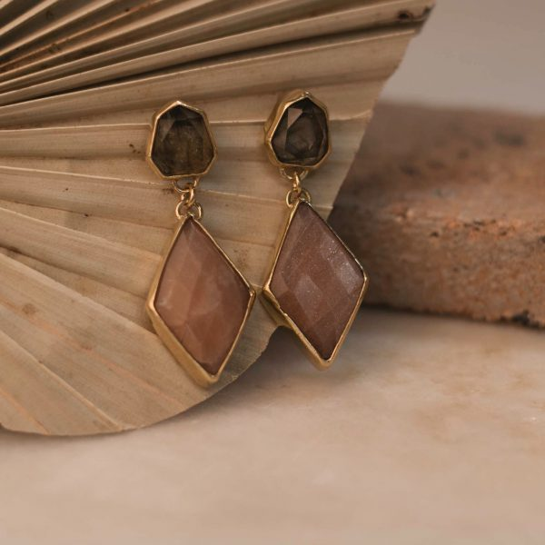 One Of A Kind Statement Earrings Sunstone & Labradorite - Brass 1.1