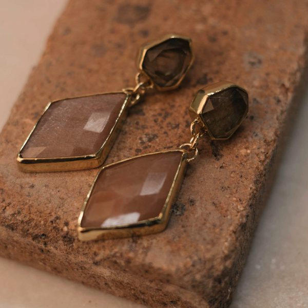 One Of A Kind Statement Earrings Sunstone & Labradorite - Brass 2