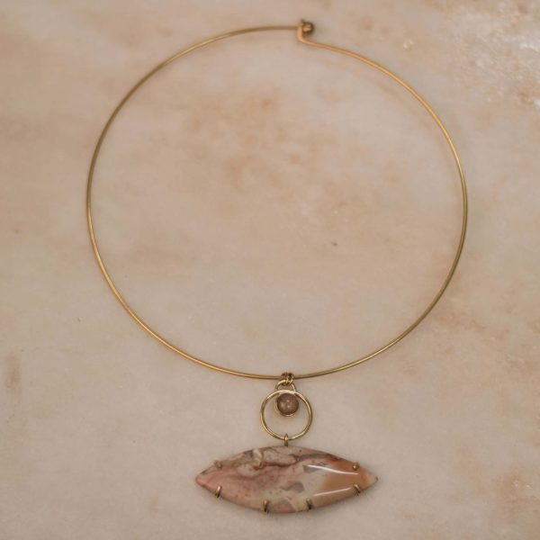 One of a Kind Manchet Necklace with Marquise Ocean Jasper & Peach Moonstone - 1