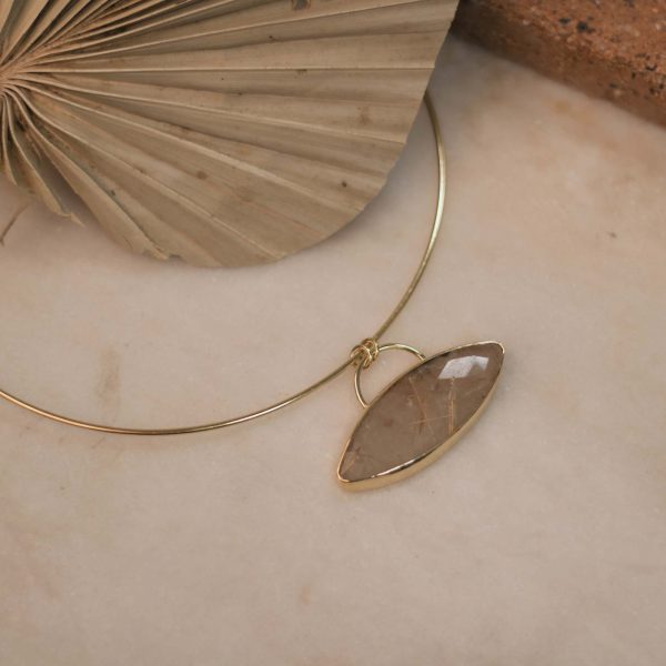 One of a Kind Manchet Necklace with Marquise Rutilated Quartz.