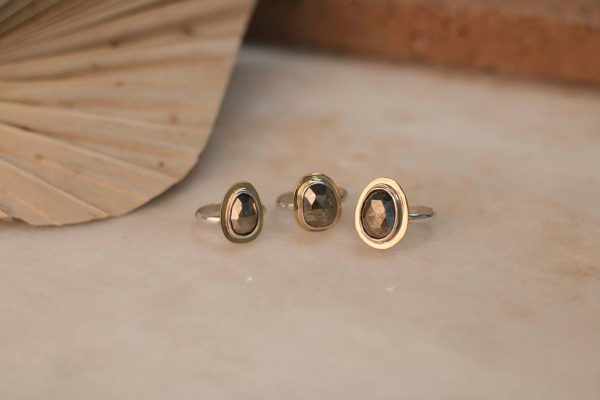 WEDELIA Ring Pyrite - Silver with Brass 3