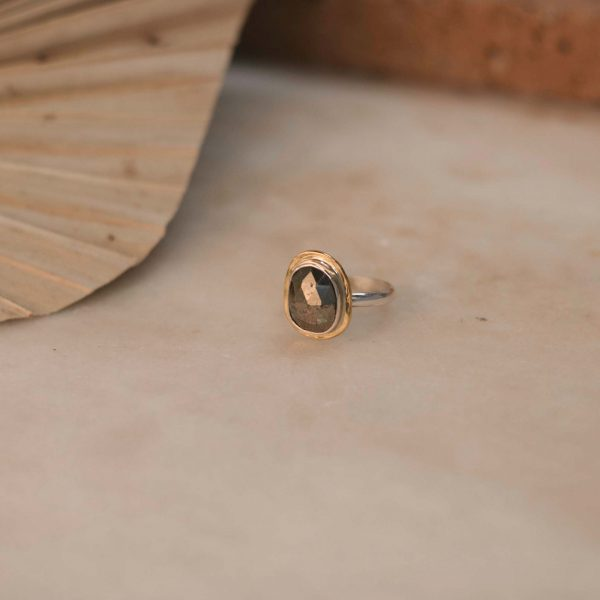 WEDELIA Ring Pyrite - Silver with Brass