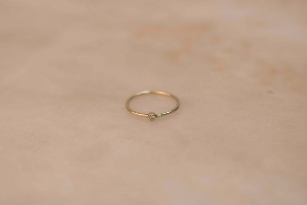 Medium Solitaire Ring - 14k Gold with Moissanite (1).