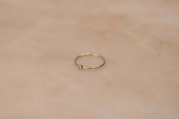 Medium Solitaire Ring - 14k Gold with Moissanite (2)