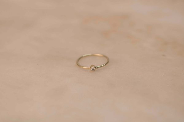 Tiny Solitaire Ring - 14k Gold with Moissanite (1)