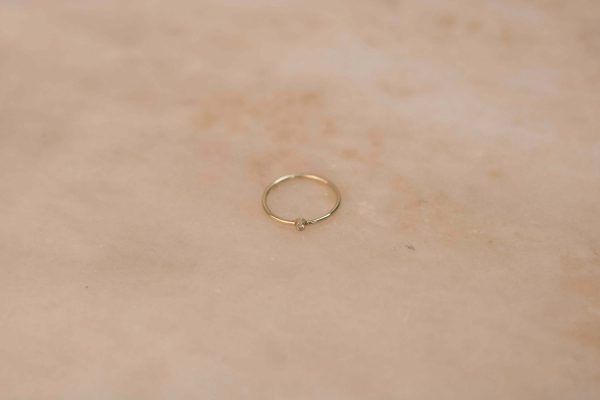Tiny Solitaire Ring - 14k Gold with Moissanite 1.2