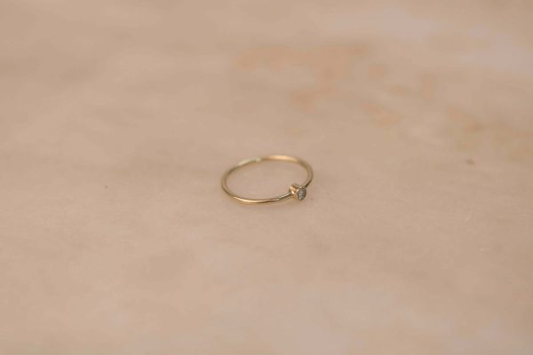 Tiny Solitaire Ring - 14k Gold with Moissanite (3)