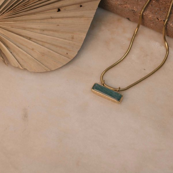 Boa Necklace with Amazonite Bar - Brass 3Boa Necklace with Amazonite Bar - Brass