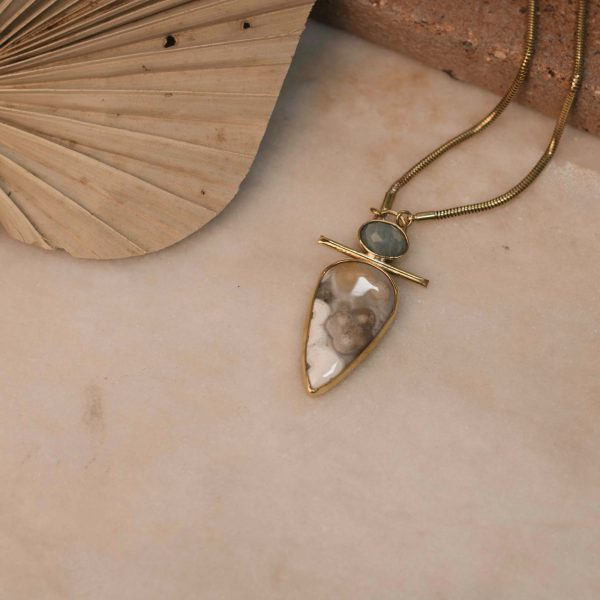Boa Necklace with Teardrop Jasper & Oval Aquamarine - Brass 2