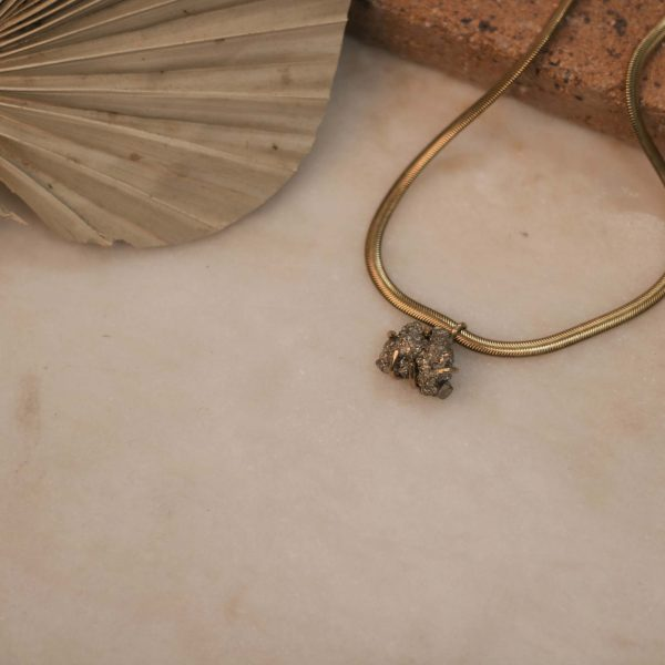 Flat Snake Necklace with Pyrite - Brass 1