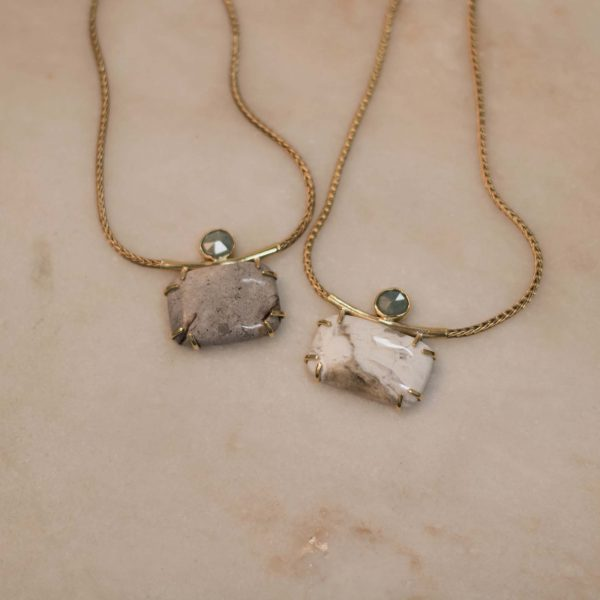 Snake Necklace with Square Jasper & Tiny Aquamarine -Brass 3