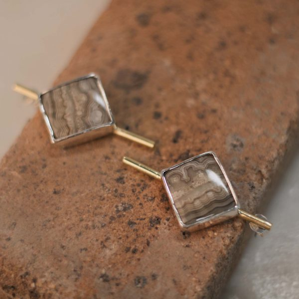 Few of a Kind Jasper Earrings - Brass & Silver 3