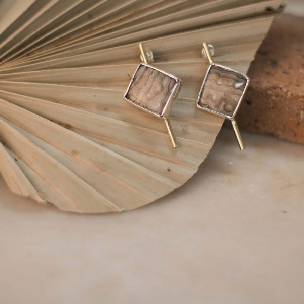Few of a Kind Jasper Earrings - Brass & Silver 4