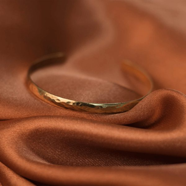 Hammered Cuff on Rust Colored Silk - Brass 2