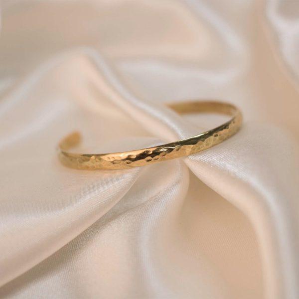 Hammered Cuff on Silk - Brass