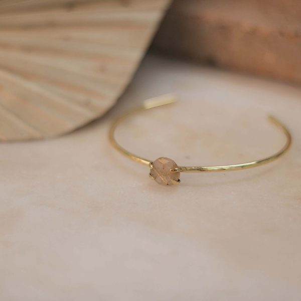 Hammered LAMBERTIA Cuff Rutilated Quartz Small - Brass 1