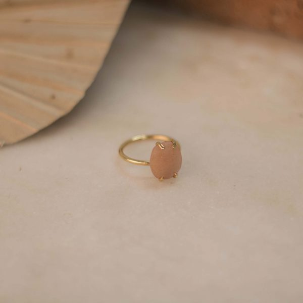 LOBELIA Ring Peach Moonstone Brass Silver