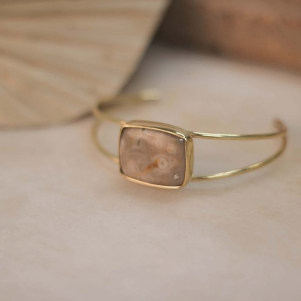 One of a Kind Double IXORA Cuff Jasper Rectangle - Brass.