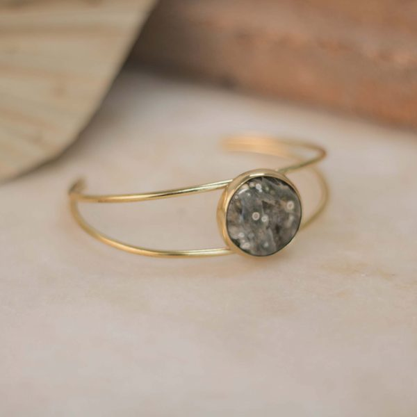 One of a Kind Double IXORA Cuff Jasper Round - Brass 2.
