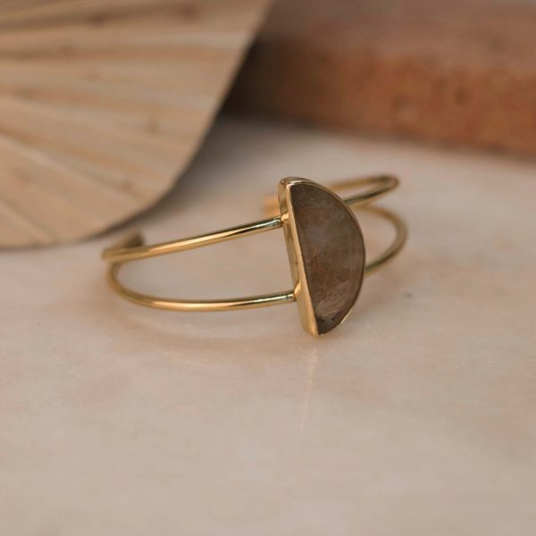 One of a Kind Double Ixora Cuff with Rutilated Quartz Half Moon - Brass 2