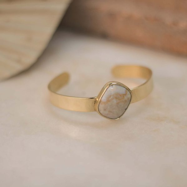 One of a Kind OLEA Cuff Jasper Square - Brass 3.