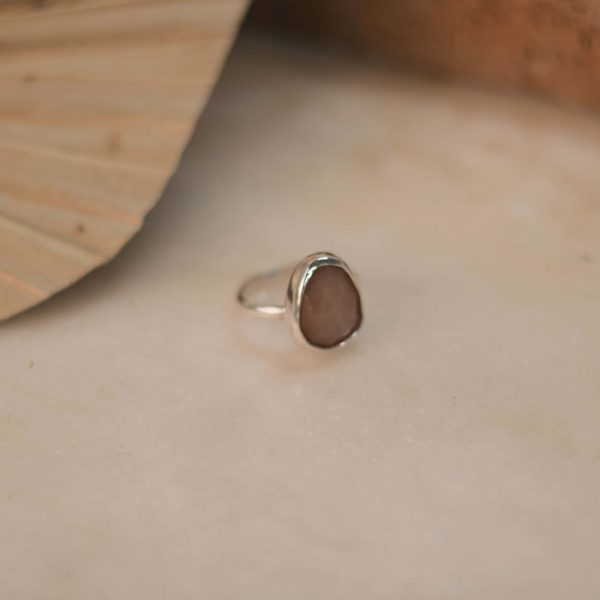 Peach Moonstone Ring - Silver