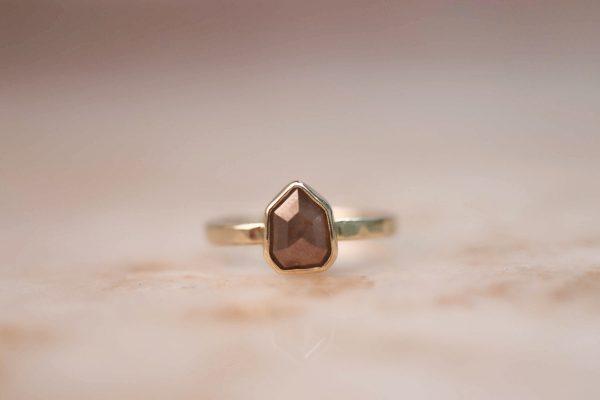14k Geometric Peach Champagne Diamond Ring