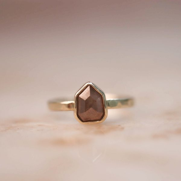 14k Geometric Peach Champagne Diamond Ring