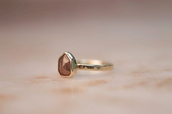 14k Geometric Peach Champagne Diamond Ring 2-1