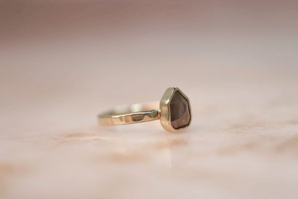 14k Geometric Peach Champagne Diamond Ring 3.