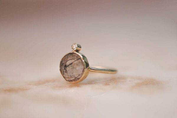 14k-gold-Round-Rutile-Quartz-Ring-with-Moissanite 2.