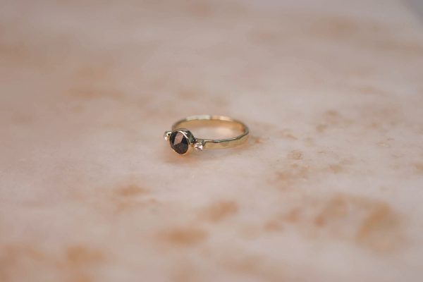 14k gold Rustic Diamond ring with Moissanite Accents 6.