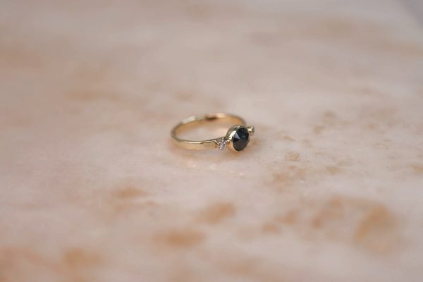 14k gold Rustic Diamond ring with Moissanite Accents 7.