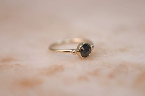 14k gold Rustic Rose Cut Diamond Ring with Dots 2