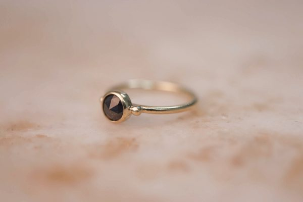 14k gold Rustic Rose Cut Diamond Ring with Dots 3