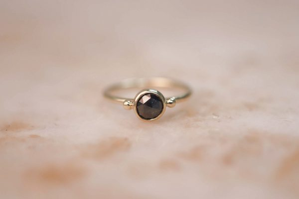 14k gold Rustic Rose Cut Diamond Ring with Dots