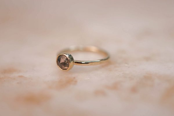 14k gold Rustic Rose Cut Diamond ring 2