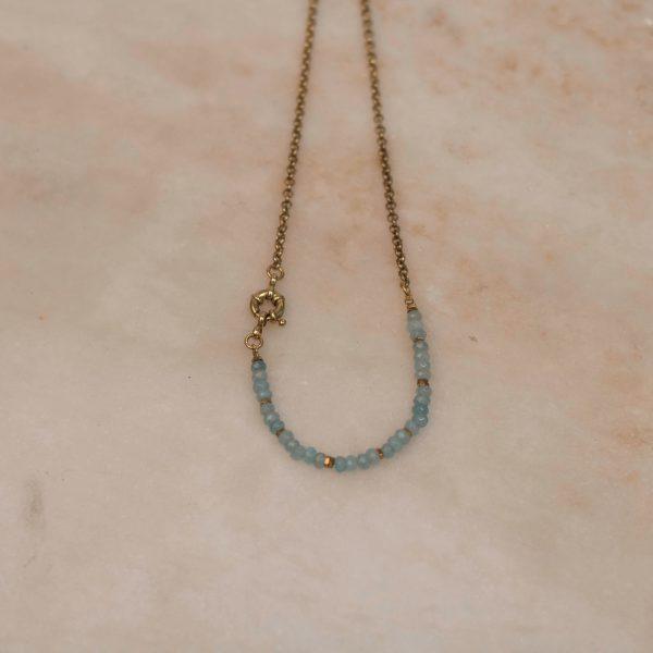 Aquamarine Vintage Style Beaded Necklace - Brass Bobini Roots