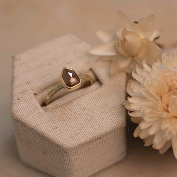14k Geometric Peach Champagne Diamond Ring in Linnen Ringbox