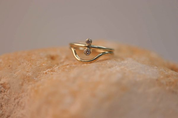 14k Yellow Gold Curve Ring €199 & North South Ring – medium version €299