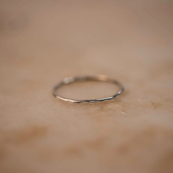 Silver stacking ring Hammered 1.2 bobini roots..