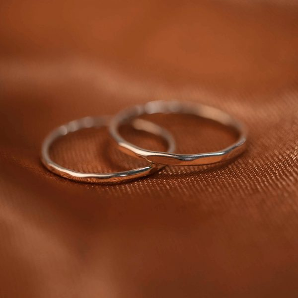 Silver stacking rings Hammered 1.2 & 1.5 mm