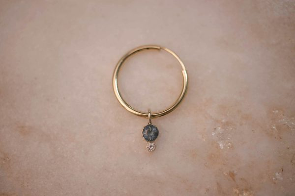 Charm Aquamarine & Moissanite + Hoop Medium - 14k Gold