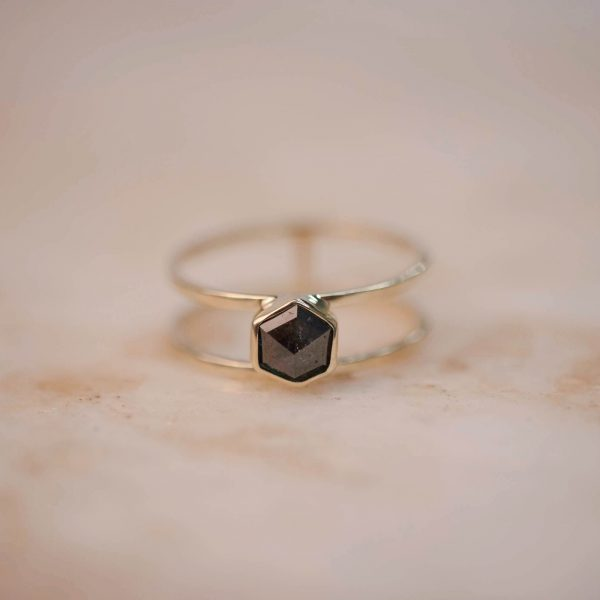 Double Ring with Grey Rose Cut Hexagon Diamond - 14k Gold 1